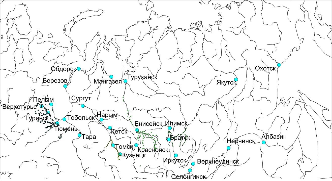 Картографирование русской аграрной колонизации Сибири XVII в.